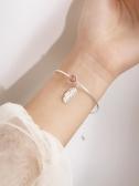 @小麋人 桃花草莓色圓珠粉紅水晶羽毛吊墜通體S925 伊蒂斯女裝