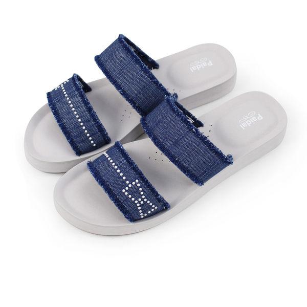 Paidal 珍珠貼片單寧抽鬚蝴蝶結厚底腳床涼拖鞋