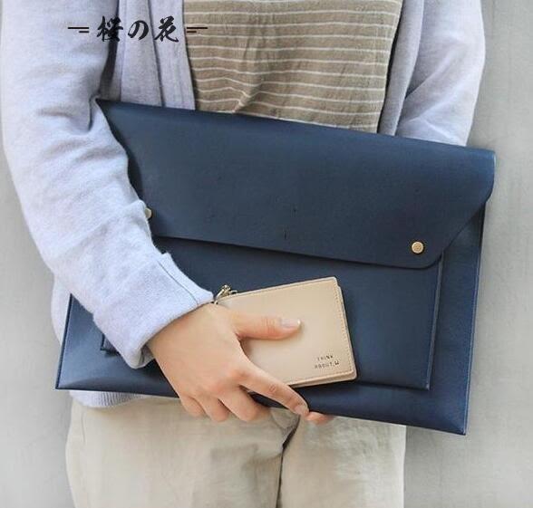 韓國新款手拿包信封包簡約皮革女手包筆記本包通勤A4文件包公文包【櫻花本鋪】