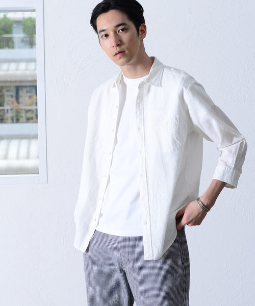 出清 棉麻 男襯衫 千鳥格 7分袖 免運費 日本品牌【coen】