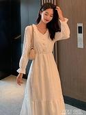 長洋裝 白色長袖洋裝女春秋仙女白裙子仙氣超仙森系長款收腰氣質長裙夏 poly girl