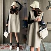 漂亮小媽咪 寬鬆 兩件式 毛呢洋裝 【D2666】 韓系 V領  口袋 背心裙 十 高領內搭衣 孕婦洋裝 孕婦裝