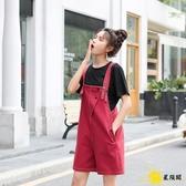 吊帶褲 2020夏季新款紫色女韓版寬鬆顯瘦短褲網紅減齡小個子五分褲