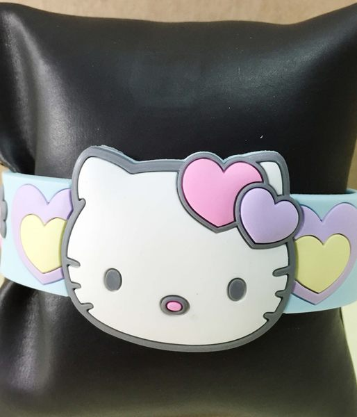【震撼精品百貨】Hello Kitty 凱蒂貓~手環/手鍊-橡膠材質-藍花造型
