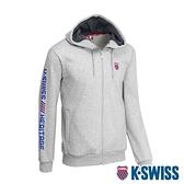 K-SWISS Shield Logo Hoodie Jacket刷毛連帽外套-女-淺灰