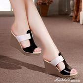 坡跟涼鞋 涼鞋女百搭韓版學生粗跟厚底坡跟外穿時尚鞋子女   蜜拉貝爾