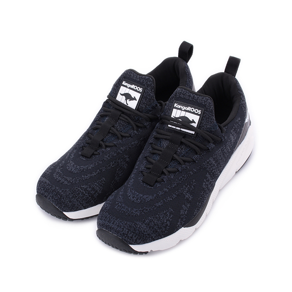 KANGAROOS 袋鼠 RIPPLE 編織跑鞋 黑白 KM01090 男鞋 鞋全家福