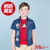 JJLKIDS 男童 酷狗帥氣勛章個性牛仔短袖襯衫(牛仔藍)