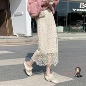 紗裙 2020新款遮跨高腰鏤空蕾絲半身裙子秋冬女中長款a字裙網紗中長裙 2色