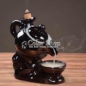 送60粒倒流香爐家用香薰爐熏香檀香爐陶瓷創意擺件臥室 擺件 快速出貨