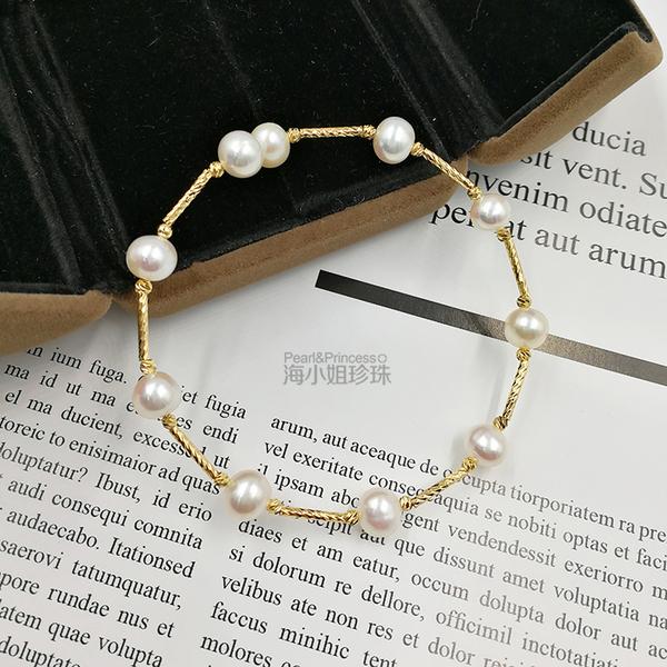海小姐的珍珠天然珍珠手鐲彈力可調節珍珠手?女