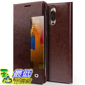 [106美國直購] Huawei Mate 9 Pro Case 手機殼 QIALINO UtraSlim Genuine Leather Huawei Mate9 Pro, Brown