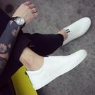 小白鞋一腳蹬皮鞋英倫白色男士休閒鞋豆豆鞋樂福鞋懶人社會小夥鞋 koko時裝店