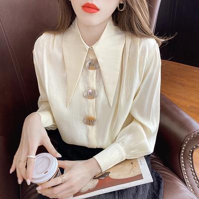 尖領襯衫女長袖復古韓版絲光緞面襯衣6125#N194紅粉佳人