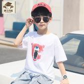 童裝男童T恤2019新款韓版中大童印花打底衫 兒童潮流短袖男孩上衣 藍嵐