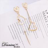 現貨不用等 韓國氣質甜美浪漫愛心珍珠不對稱925銀針耳環 夾式耳環 S93352 批發價 Danica 韓系飾品