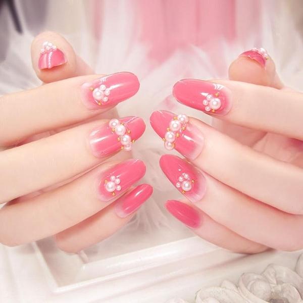 光療感指甲油日韓系 美甲片成品 指甲貼片粉紅指甲片新娘假穿戴指甲片 24片D7配外套皮衣風衣