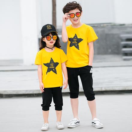 韓版潑墨星星短袖上衣親子裝(小孩)