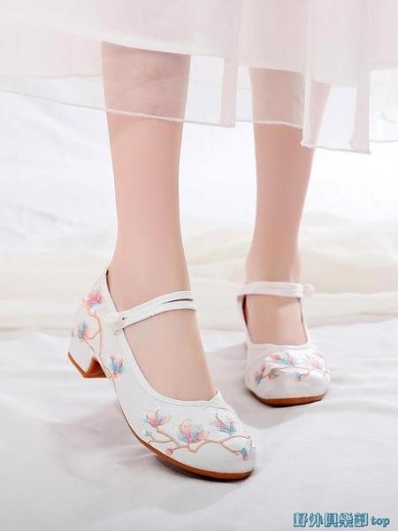 古風鞋 新款新改良古風繡花鞋子女漢服鞋增高百搭中跟中國風搭配旗袍的鞋 快速出貨
