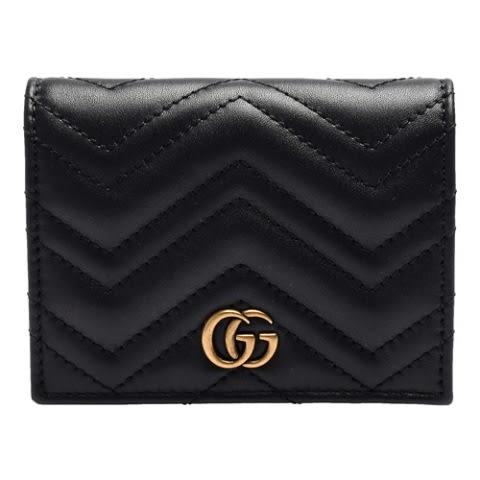 【雪曼國際精品】GUCCI 466492 DRW1T 1000 GG Marmont 絎縫紋牛皮金屬雙G LOGO暗釦卡夾/零錢包(黑)-新品現貨