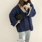 毛衣 女新款秋冬寬鬆外穿慵懶風加厚V領麻花拼色套頭針織衫 - 古梵希