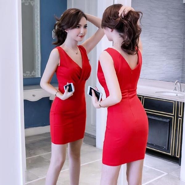 洋裝無袖V領包臀紅色 韓版 派對夜店 婚禮小禮服 連身裙 花漾小姐【現貨】