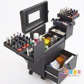 化妝拉杆箱 妝百納拉桿化妝箱專業多層多功能跟妝工具箱手提美甲紋繡工具箱 3色T