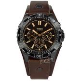 FOSSIL / FS5626 / Garrett 三眼計時 礦石強化玻璃 日本機芯 防水100米 真皮手錶 褐x黑框x褐 44mm