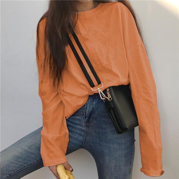 EASON SHOP(GW7423)實拍糖果色系長版OVERSIZE落肩寬鬆圓領長袖素色棉T恤裙連身裙女上衣服內搭衫洋裝