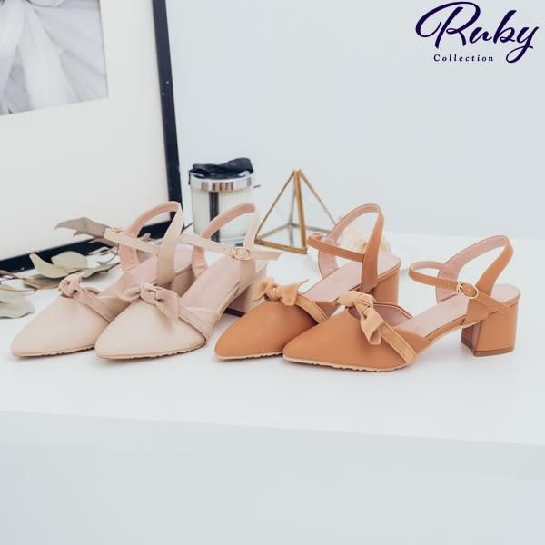 鞋子 絨布扭結繫踝尖頭粗跟鞋-Ruby s 露比午茶