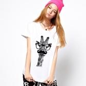 Giraffe-bonjour短袖T恤 2色 長頸鹿你好鬍子法國設計文青動物t-shirt gildan