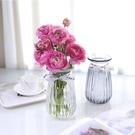 簡約玻璃花瓶 漸變透明束腰款 鮮花干花花...