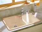 【 麗室衛浴】 美國KOHLER  Executive Chef 雙孔鑄鐵雙水槽(白色)  K-17250T-1S-0
