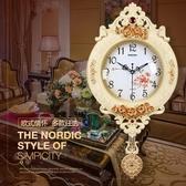 全館83折歐式鐘表創意搖擺掛鐘時尚掛表復古靜音客廳時鐘臥室石英鐘
