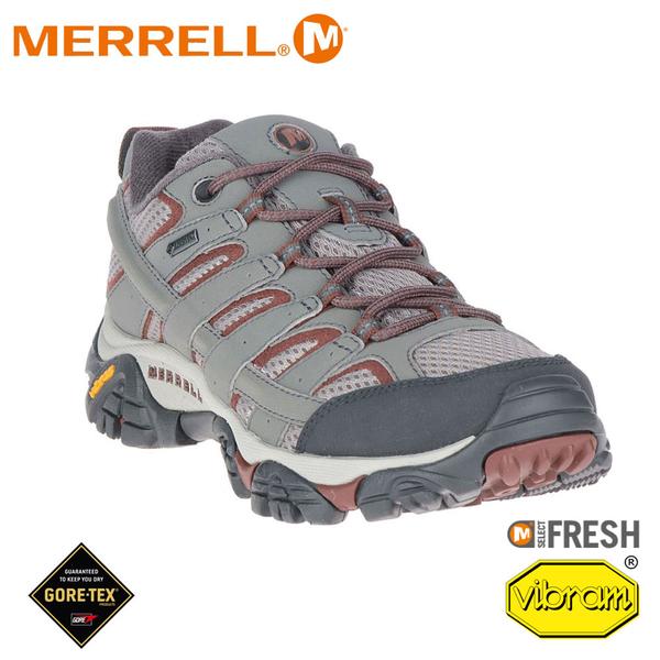 【MERRELL 美國 女 MOAB 2 GORE-TEX多功能健行鞋《淺灰/暗紅》】ML99790/休閒鞋/登山鞋