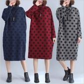 初心 原創設計洋裝 【D3688】 →超值 長袖 波點 寬鬆 大碼 舒適 保暖夾棉 高領 長版洋裝