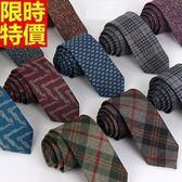 領帶 男士配件(任兩條)-棉麻羊絨窄版時尚手打領帶11色69d14[巴黎精品]