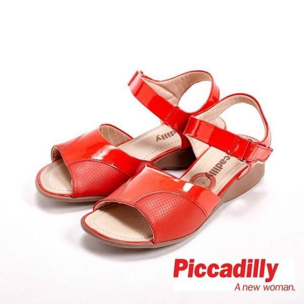 【南紡購物中心】Piccadilly 魚口設計楔型跟涼鞋女鞋 紅(另有棕、黑)
