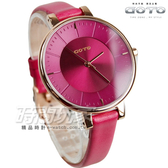 GOTO 緣起不滅簡約時尚手錶 玫瑰金電鍍x桃紅 防水真皮女錶 GL1040L-4R-R41