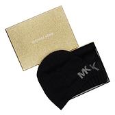 MICHAEL KORS 經典鉚釘LOGO圍巾毛帽禮盒組 黑色 538161 O/S
