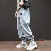 涼感牛仔褲 夏季新款工裝牛仔褲男國潮牌街頭寬鬆淺藍色束腳褲ins超火九分褲-快速出貨