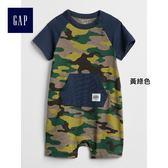Gap男嬰兒 迷彩短袖一件式包屁衣 336366-黃綠色