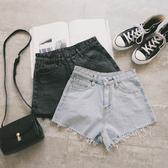 MUMU【P56159】水洗毛邊高腰牛仔短褲。黑灰/藍
