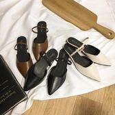 包頭半拖鞋女新款涼拖女夏外穿復古平底鞋兩穿尖頭時尚穆勒鞋