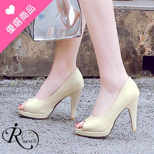 韓系時尚OL素面防水台魚口高跟涼鞋/3色/35-43碼 (RX0386-X5-2) iRurus 路絲時尚