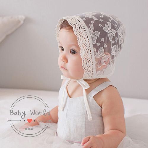 帽子 韓版 蕾絲 公主帽 蝴蝶結 造型 寶寶 空調帽 BW