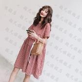 孕婦洋裝夏裝裙子連衣裙新款時尚紅色格子裙春夏天仙女潮媽時尚款