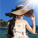 沙灘帽 大檐涼帽女夏遮陽防曬可折疊草帽防紫外線氣質百度海邊度假沙灘帽
