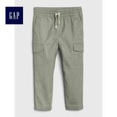 Gap男嬰幼童 舒適抽繩鬆緊腰工裝長褲 489248-花旗鬆綠色