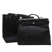 HERMES 愛馬仕 89 Noir 黑色帆布拚牛皮手提肩背包(附替換袋)Her Bag □C刻